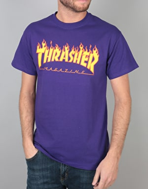Thrasher Flame T-Shirt - Purple