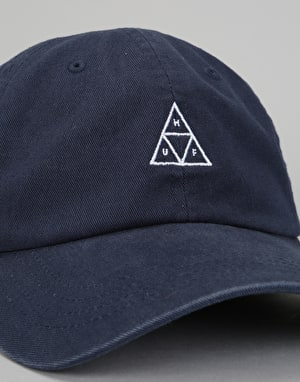 HUF Stone Wash Triple Triangle Curve Visor 6 Panel Cap - Obsidian