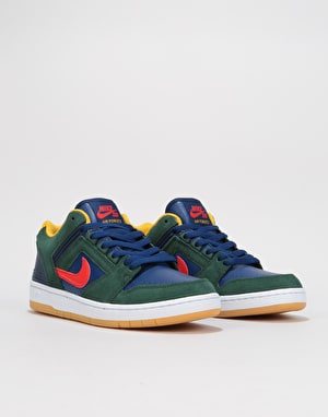 Nike SB Air Force II Low Skate Shoes - Midnight Green/Habanero Red