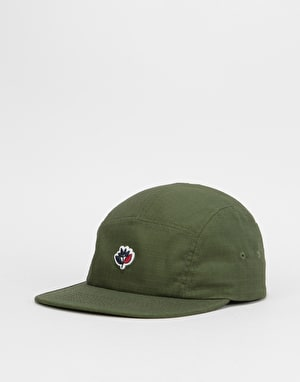 Magenta Ripstock Cotton 5 Panel Cap - Khaki