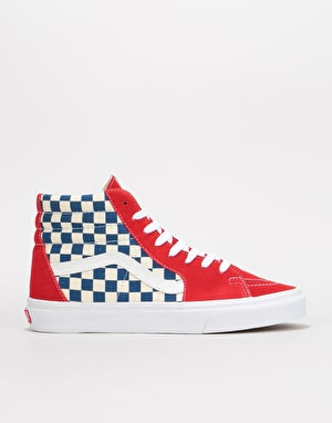 Vans Sk8-Hi Skate Shoes - (BMX Checkerboard) True Blue/Red