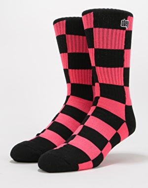 Obey Checkers Socks - Coral Pink Multi