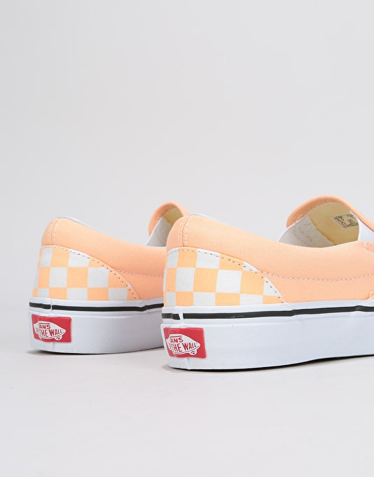 Vans Slip-On Womens Trainers - (Checkerboard) Bleached Apricot/True White