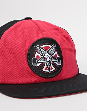 Independent x Thrasher Pentagram Cross Snapback Cap - Cardinal/Black