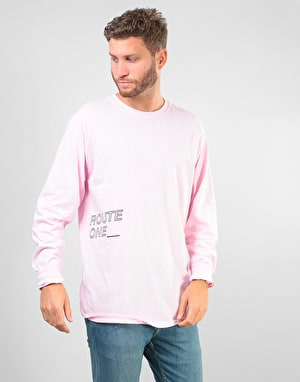 Route One Underscore LS T-Shirt - Light Pink/Black