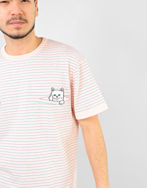 RIPNDIP Peeking Nermal Knit T-Shirt - Light Pink/Teal