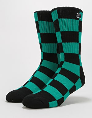 Obey Checkers Socks - Teal Multi