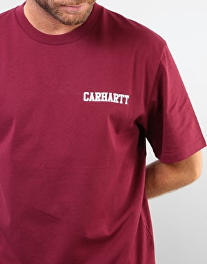 Carhartt S/S College Script T-Shirt - Mulberry/White