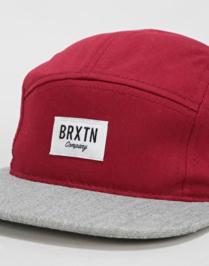 Brixton Hoover 5 Panel Cap - Burgundy/Light Heather Grey