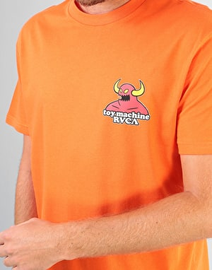 RVCA x Toy Machine Small Logo T-Shirt - Bright Orange
