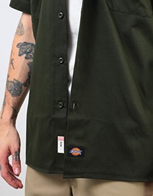 Dickies Short Sleeve Slim Shirt - Olive Green
