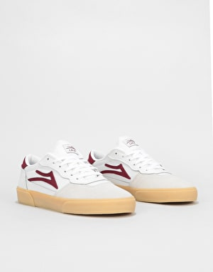 Lakai Cambridge Skate Shoes - White/Burgundy Leather