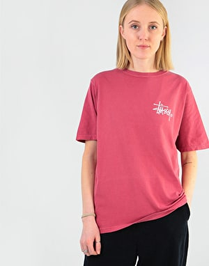 Stüssy Womens Basic Logo Pigment Dyed T-Shirt - Raspberry