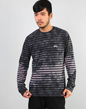 Stüssy Bleach Stripe L/S Crew - Charcoal