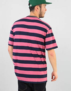 Butter Goods Jacquard Stripe T-Shirt - Coral/Navy