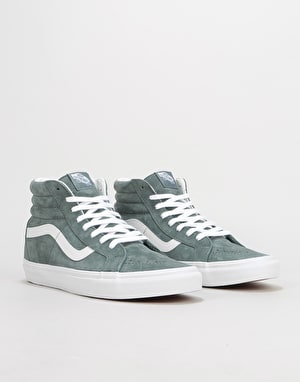 Vans Sk8-Hi Reissue Skate Shoes - (Pig Suede) Stormy Weather/White