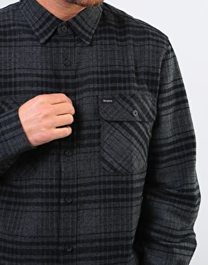 Brixton Bowery L/S Flannel Shirt - Black/Heather Charcoal