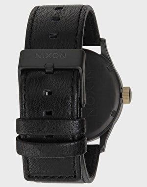 Nixon Sentry Leather Watch - Matte Black/Gold
