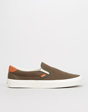 Vans Slip-On 59 Skate Shoes - (Flannel) Dusty Olive