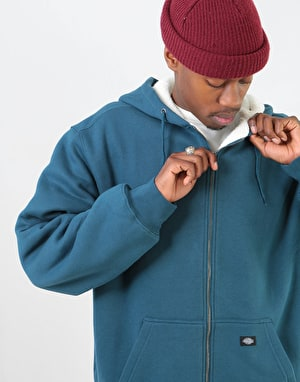 Dickies Sherpa Lined Fleece Zip Hoodie - Dark Teal