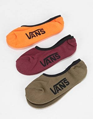 Vans Classic 3 Pack Super No Show Socks - Flame