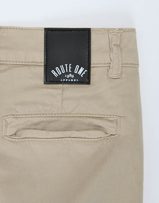Route One Slim Fit Boys Chinos - Khaki