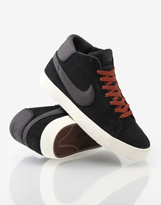 Nike SB Blazer Mid LR Skate Shoes - Black/Anthracite