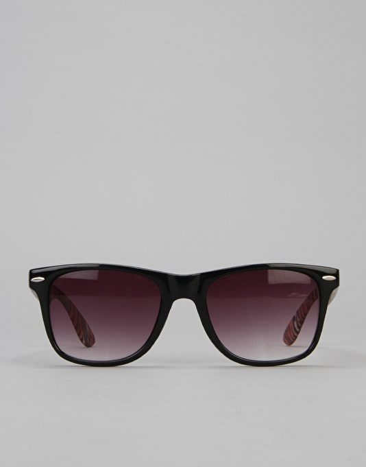 Route One Basics Tiger Arm Wayfarer Sunglasses - Black/Orange