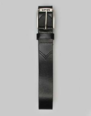 Levis Classic Top Logo Buckle Leather Belt - Regular Black