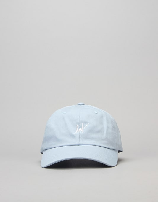HUF Script Curved Brim 6 Panel Cap - Light Blue/White