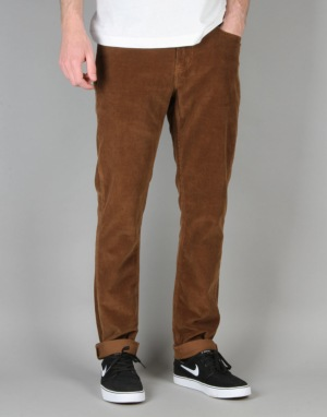 Route One Slim Fit Cords - Chocolate