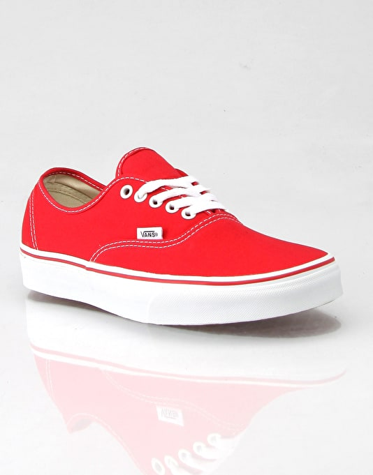 vans authentic plimsolls red