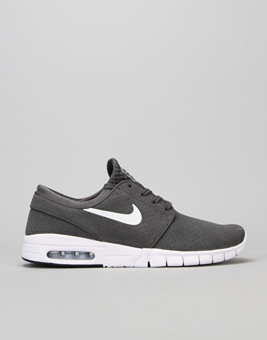 Nike SB Stefan Janoski Max Suede Shoes - Dark Grey/White-Black-White