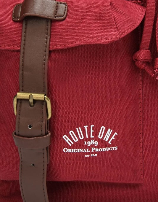 Route One Canvas Backpack - Burgundy