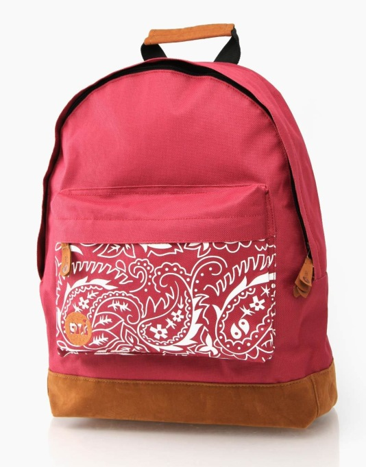 Mi-Pac Pocket Print Backpack - Burgundy/Paisley