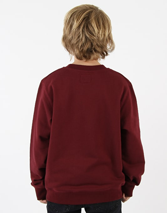 Route One Boys Basic Crewneck Sweat - Burgundy