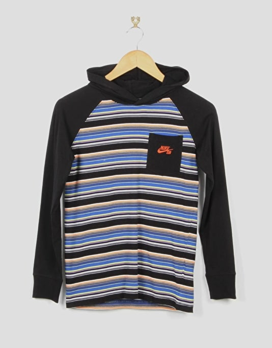 Nike SB Striped Boys Pullover Hoodie - Black