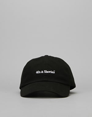 40's & Shorties Text Logo Unstructured Strapback Cap - Black