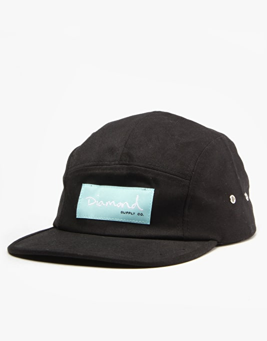 Diamond OG Script 5 Panel Cap - Black