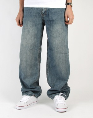 Route One Baggy Denim Jeans - Light Wash
