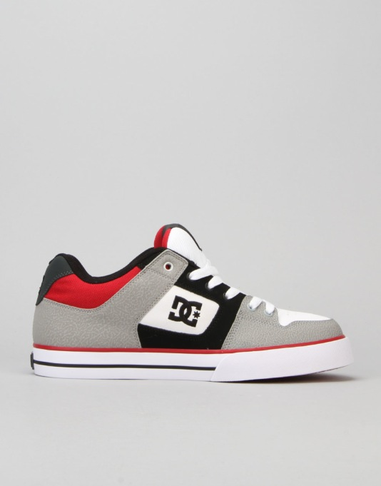DC Pure Skate Shoes - Grey/Black/Red