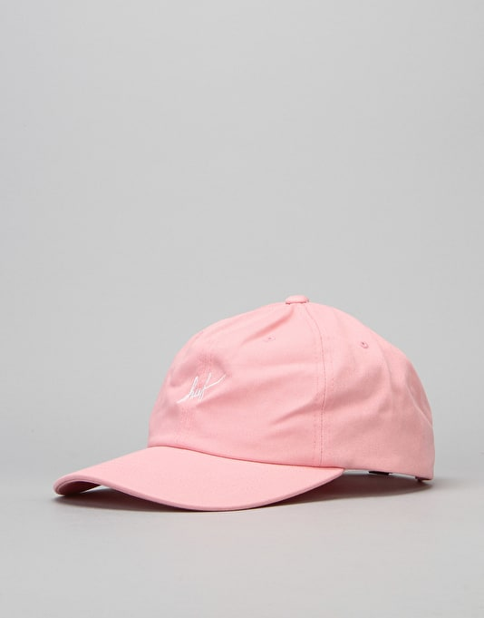 HUF Script Curved Brim 6 Panel Cap - Pink/White