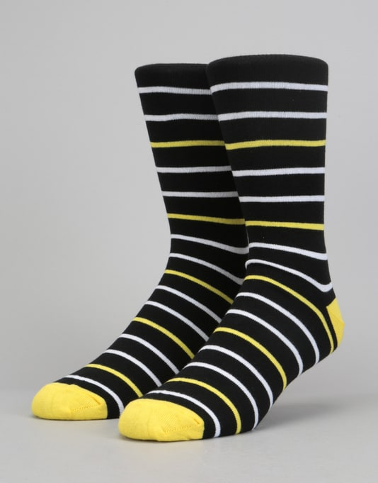 Route One Narrow Stripe Socks - Black/Yellow