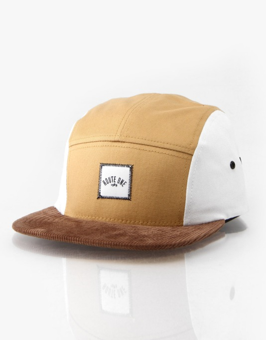 Route One Cappuccino 5 Panel Cap - Brown/White