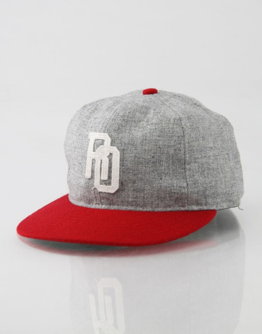 Ebbets x Route One Linked Fitted Cap - Grey/Red