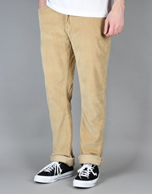 Route One Slim Fit Cords - Khaki