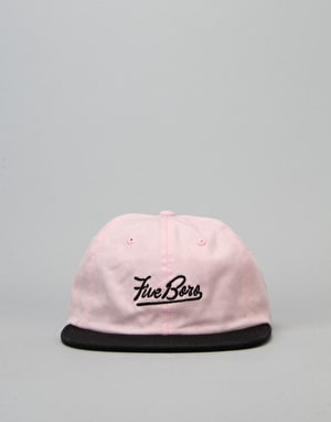 5boro Script 6 Panel Cap - Washed Pink