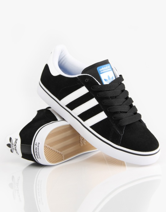 Adidas Campus Vulc Skate Shoes - Black/White/Bluebird