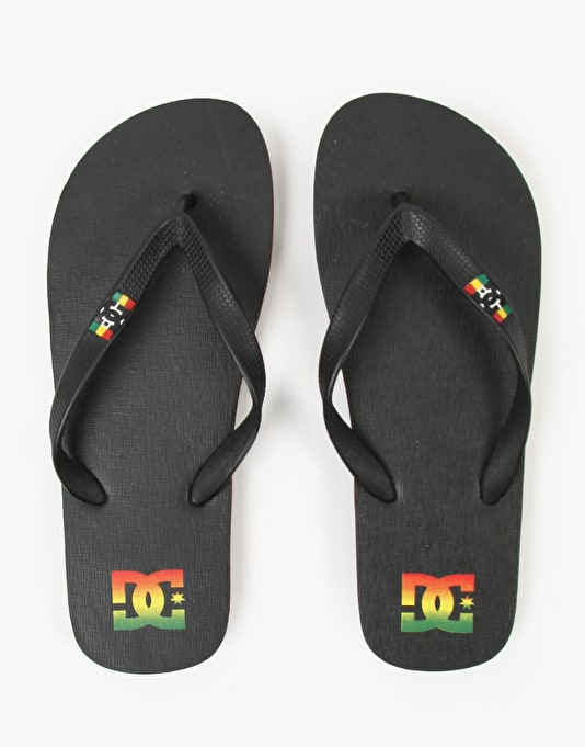 DC Spray Flip Flops - Black Rasta