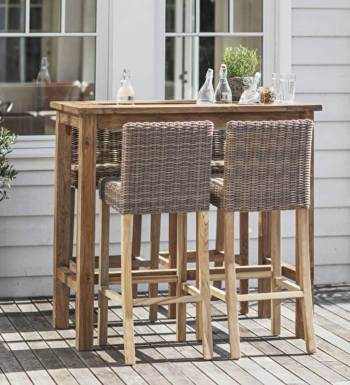 High Garden Table and All Weather Rattan Stools